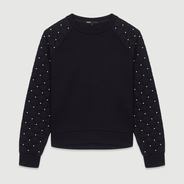 Sweashirt with pearls and quilting : Sweatshirts color Black 210