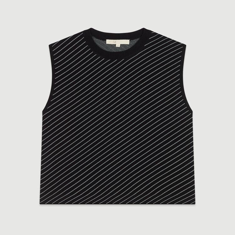 Sleeveless striped sweater : Knitwear color Stripe