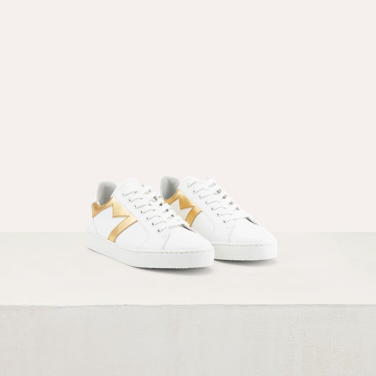 Leather sneakers with contrast M cutout : Shoes color Gold