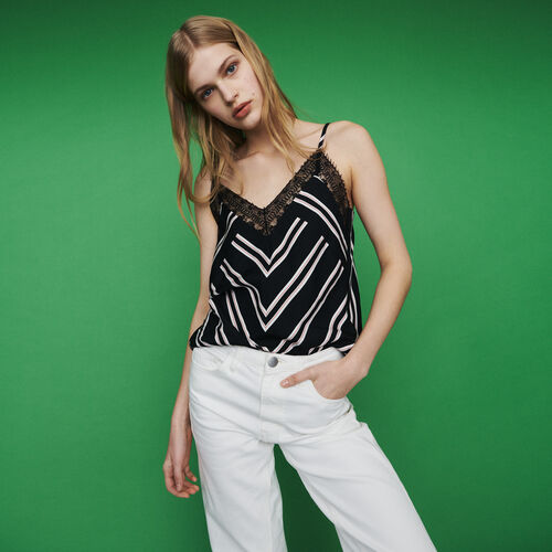 Striped camisole with lace : Tops & Shirts color Stripe