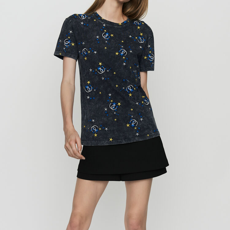 Embroidered T-shirt in distressed cotton : Urban color Grey