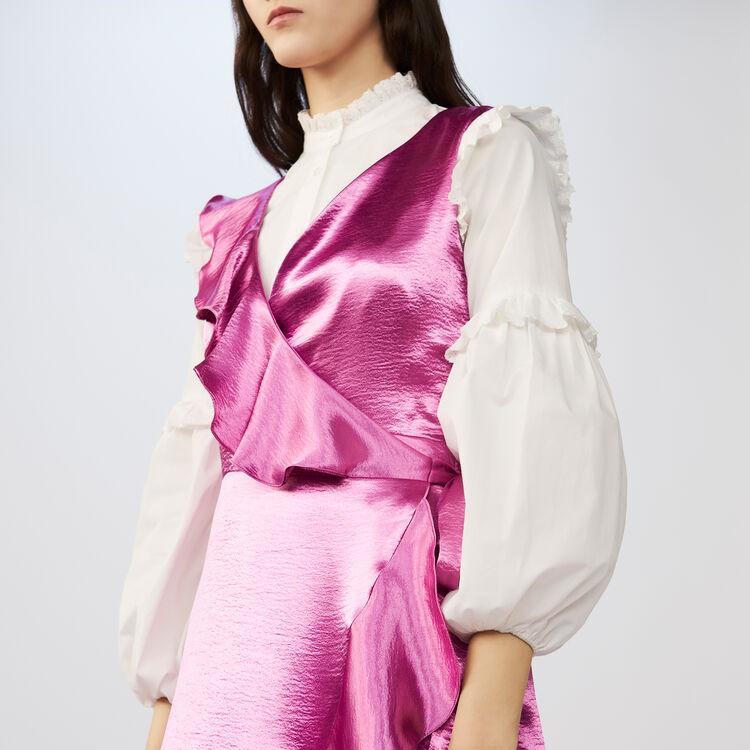 Sleeveless satin wrap dress : Dresses color Fuschia