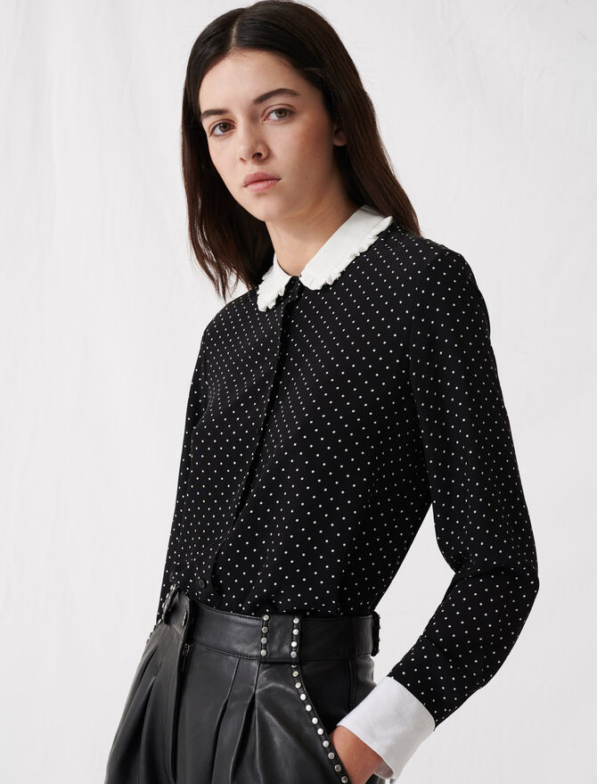 Polka dot shirt with contrasting collar - Tops & Shirts - MAJE