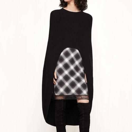 Asymmetric wool poncho : Sweaters & Cardigans color Black 210