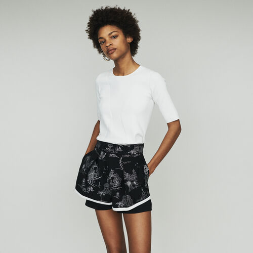 3019e1332fc54 Skirts   Shorts true Embroidered crepe shorts   Skirts   Shorts color Black  210