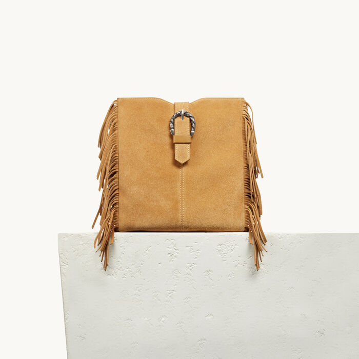 M bag in suede with scalloped buckle - YELLOW - MAJE