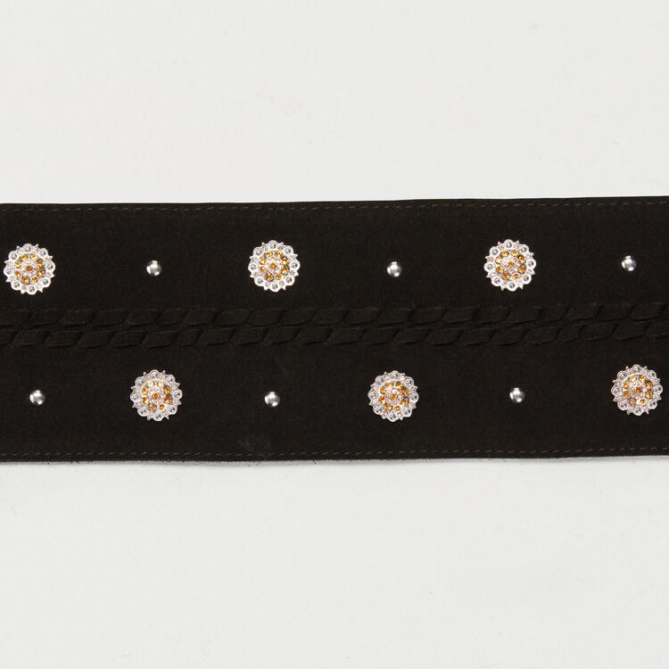 High-waisted suede belt with rhinestones : Belts color Black 210