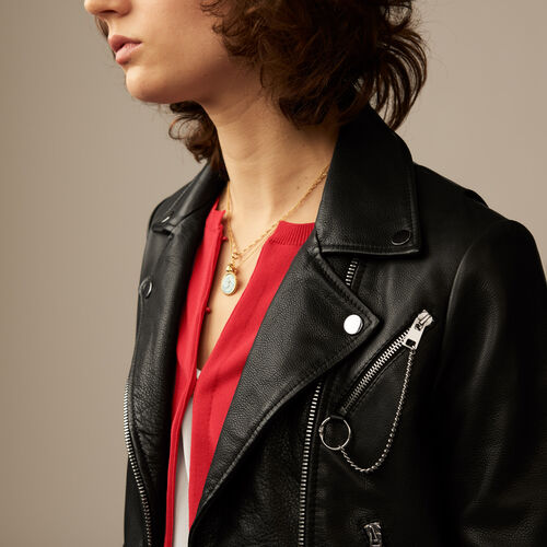 Leather biker jacket : Coats & Jackets color Black 210