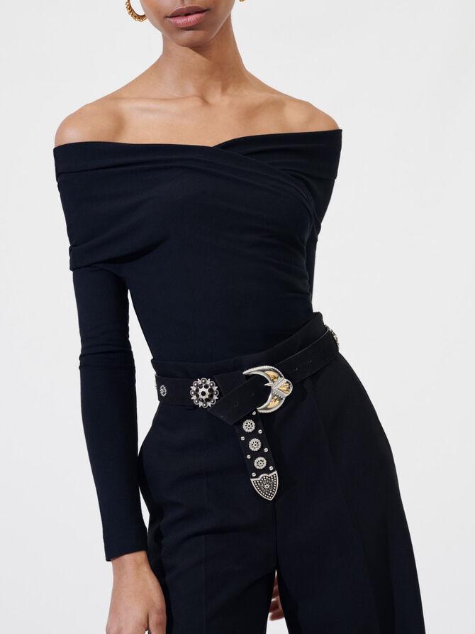 Draped black wrap bodysuit - T-Shirts - MAJE