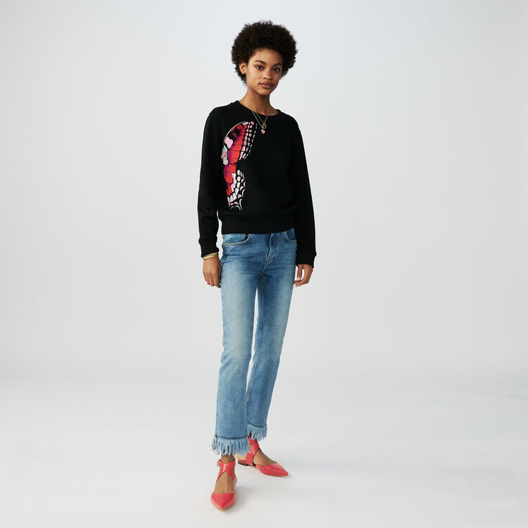 Cotton embroidered sweatshirt : T-Shirts color Black 210