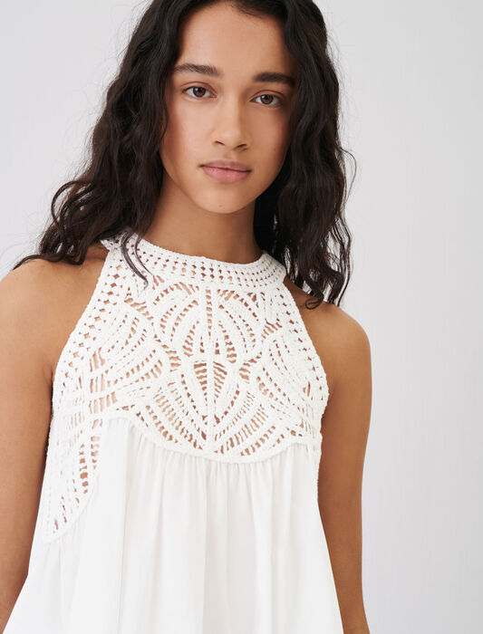 Floaty material-mix macramé knit top : Tops & Shirts color White