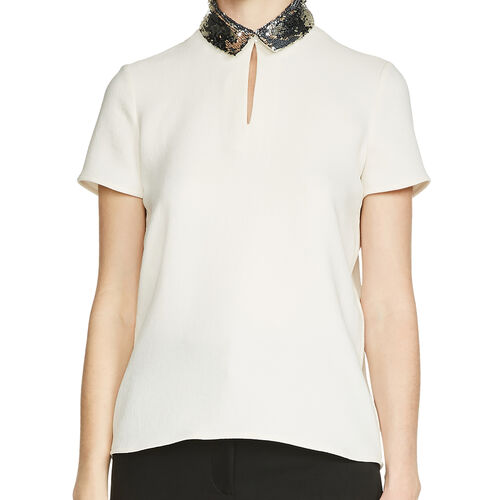 Top with sequinned collar : Tops color White
