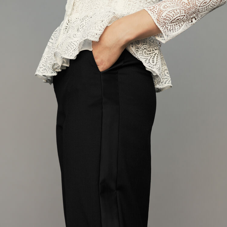 Wide pleated pants : Trousers color Black 210