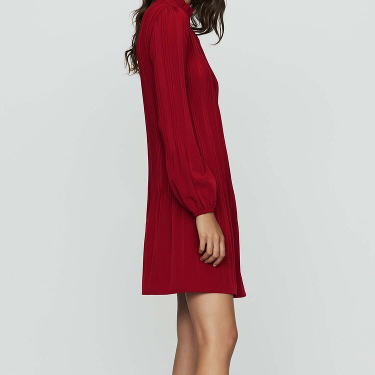 Short pleated dress : Ready to wear color Raspberry