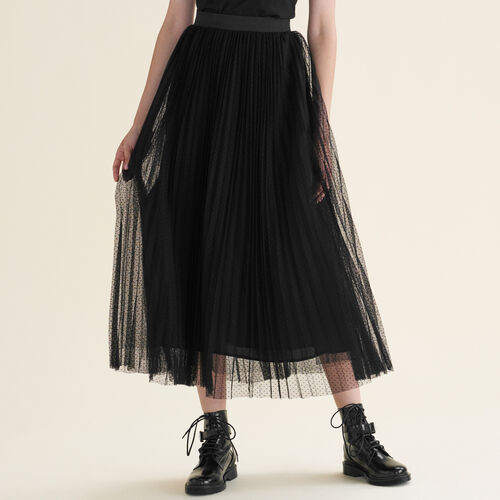 Long dotted Swiss tulle pleated skirt - Skirts & Shorts - MAJE