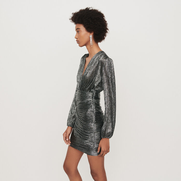 Lurex draped dress : Dresses color Silver