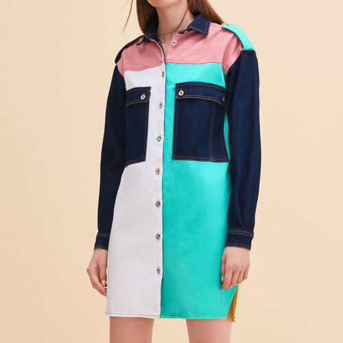 Multicoloured denim shirt dress : See all color Multico