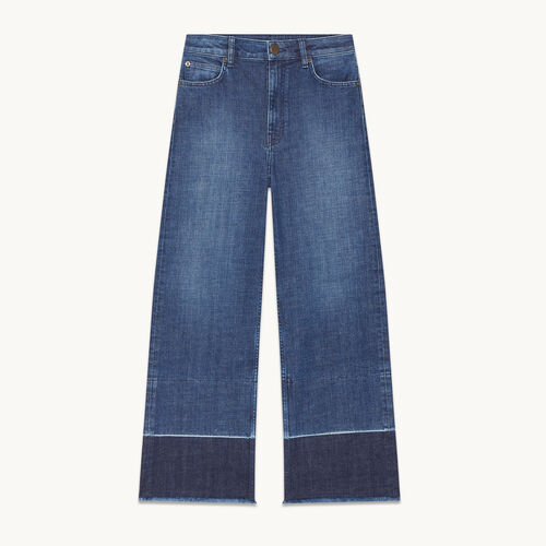 Wide-leg jeans with fringing - null - MAJE