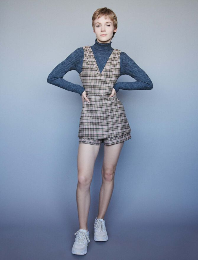 Plaid playsuit - Dresses - MAJE