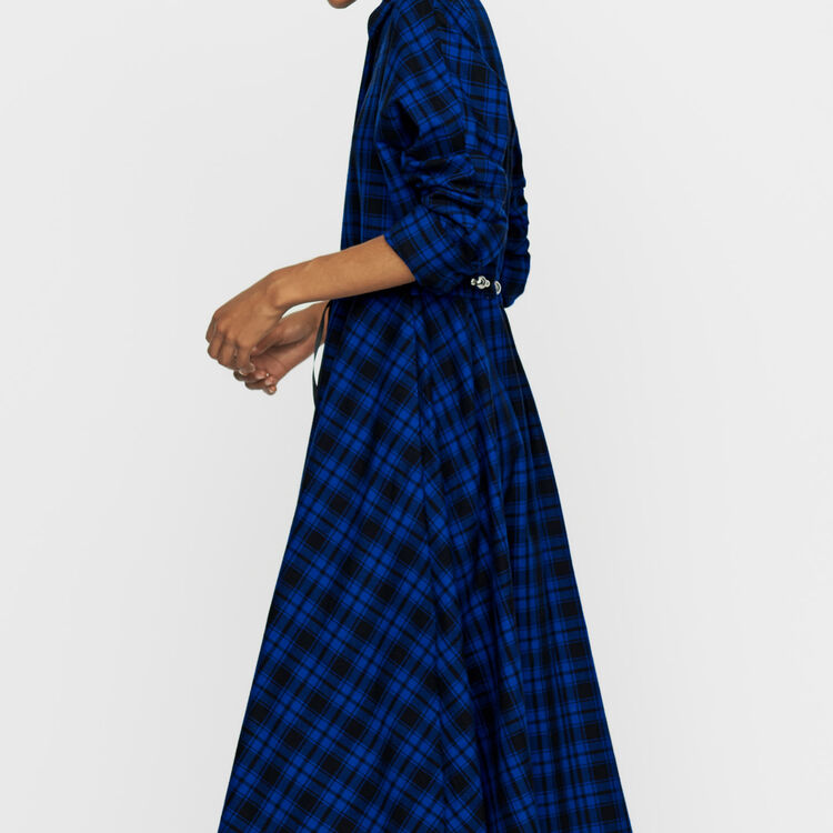 Long plaid shirt dress : Dresses color CARREAUX