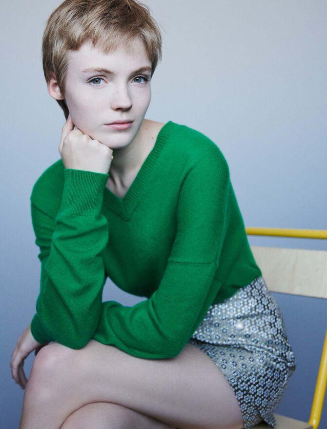 Cashmere V-neck sweater - Knitwear - MAJE