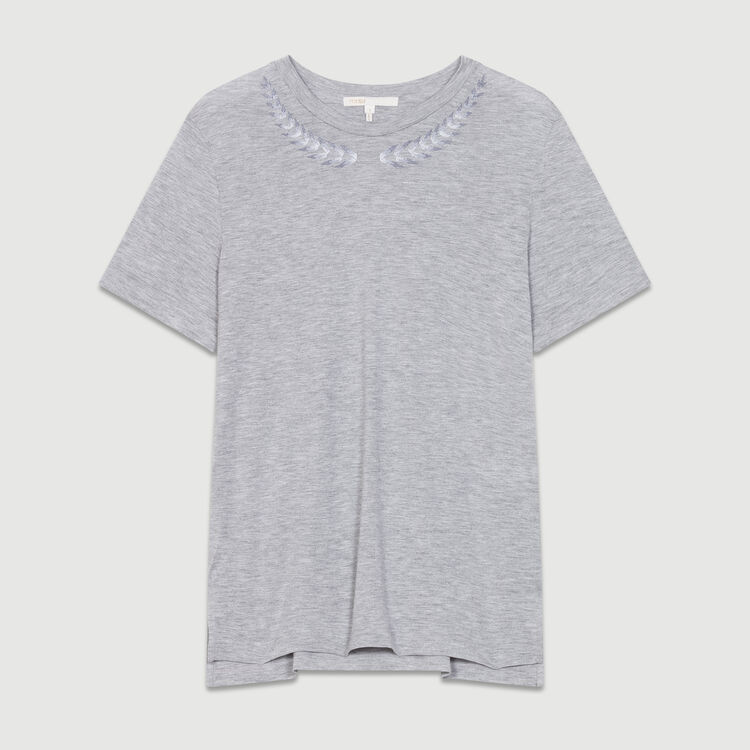 Embroidered T-shirt : T-Shirts color Grey