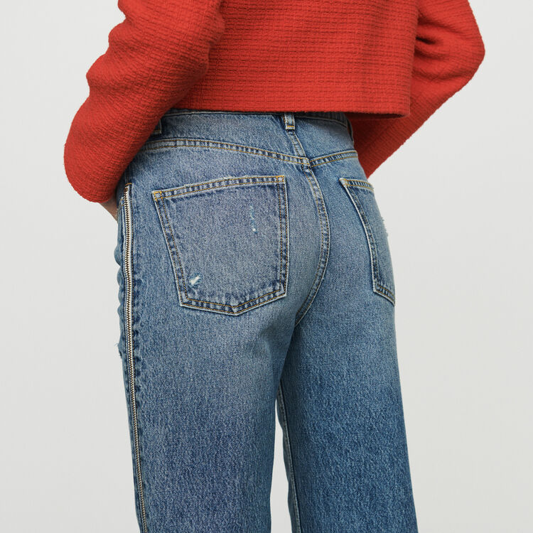 Straight jeans with zip : Trousers & Jeans color Denim
