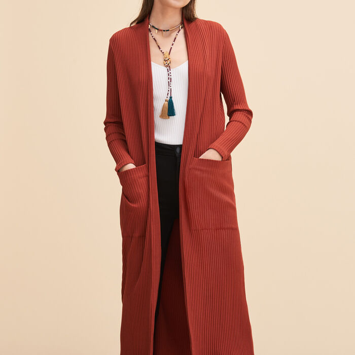 Long tube-knit cardigan - -50/60% - MAJE