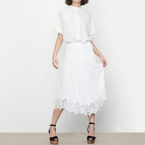 Long skirt with lace trim : Skirts & Shorts color Ecru