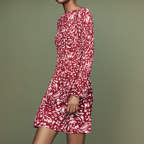 Pleated dress in novelty print : Burgundy color PRINTED