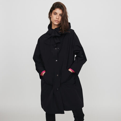 Hooded windbreaker-style parka : Coats & Jackets color Black
