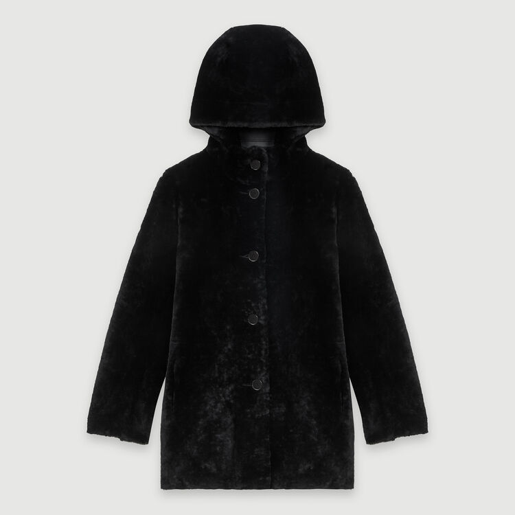 Reversible hooded lambswool : Coats & Jackets color Black