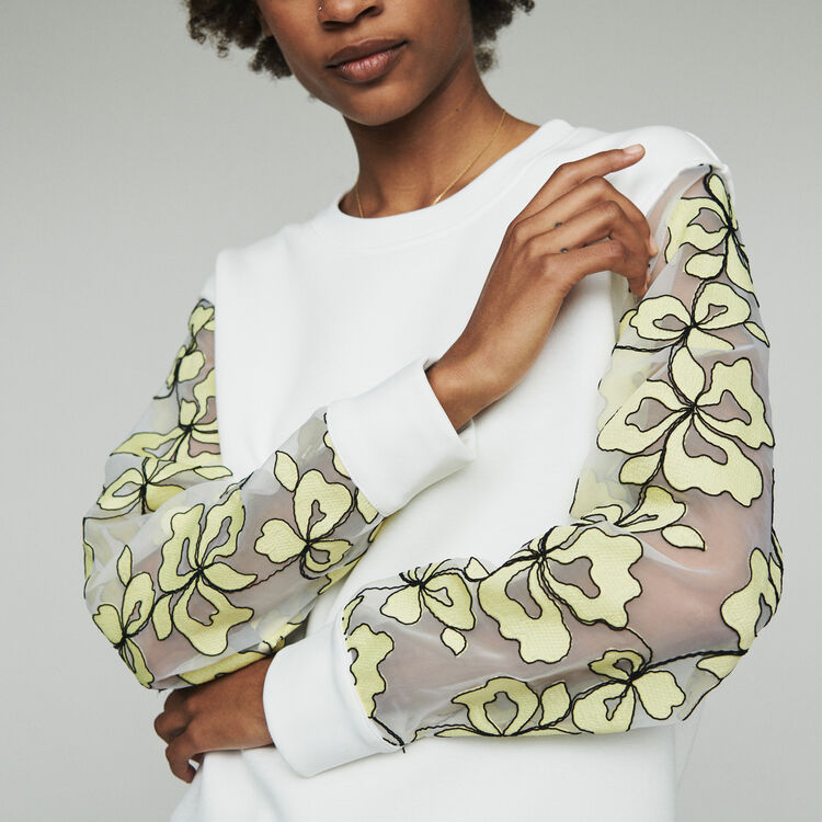 Sweatshirt with organza details : Knitwear color White
