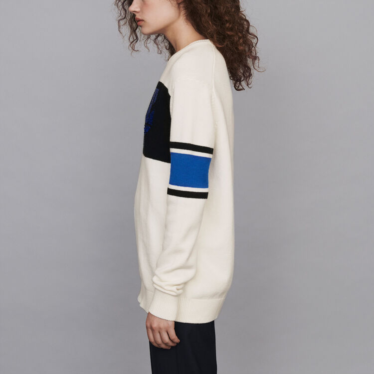 Sequin sweater with contrasting details : Knitwear color Ecru