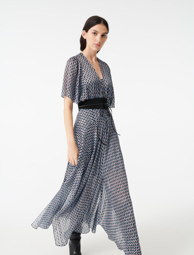 Lurex jacquard print scarf dress - Dresses - MAJE