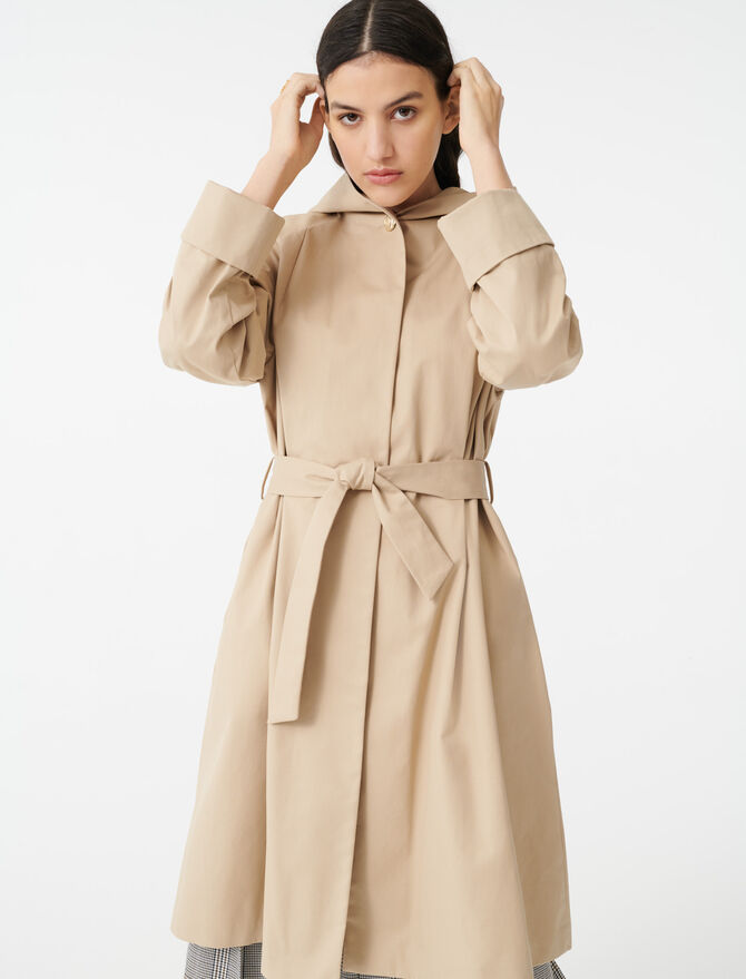 Hooded trench coat with belt - Coats - MAJE