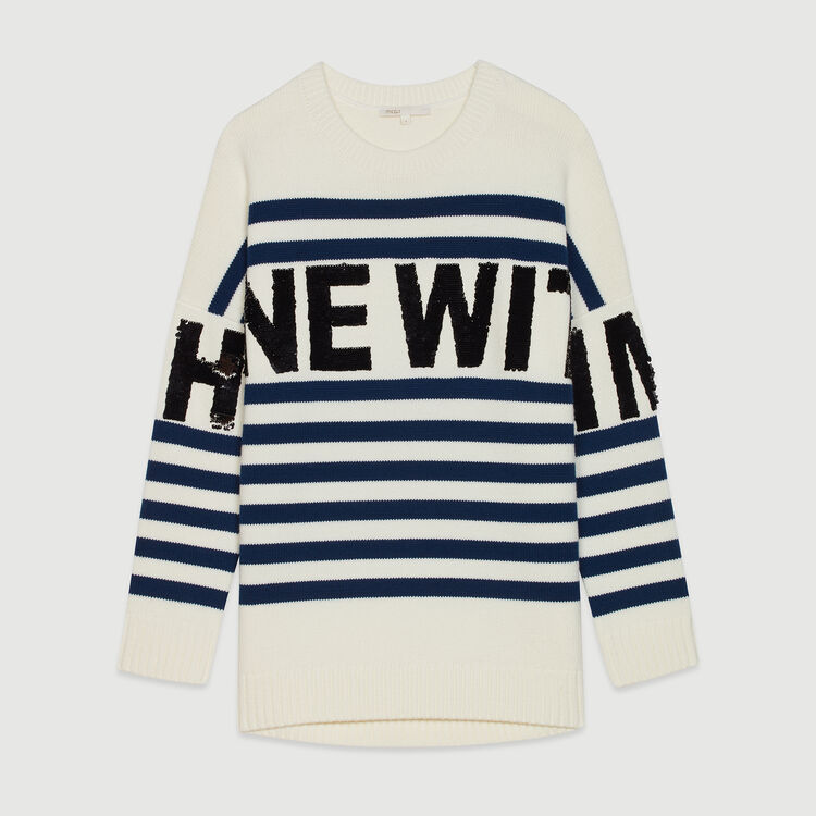Sailor striped sweater in wool blend : Knitwear color Ecru