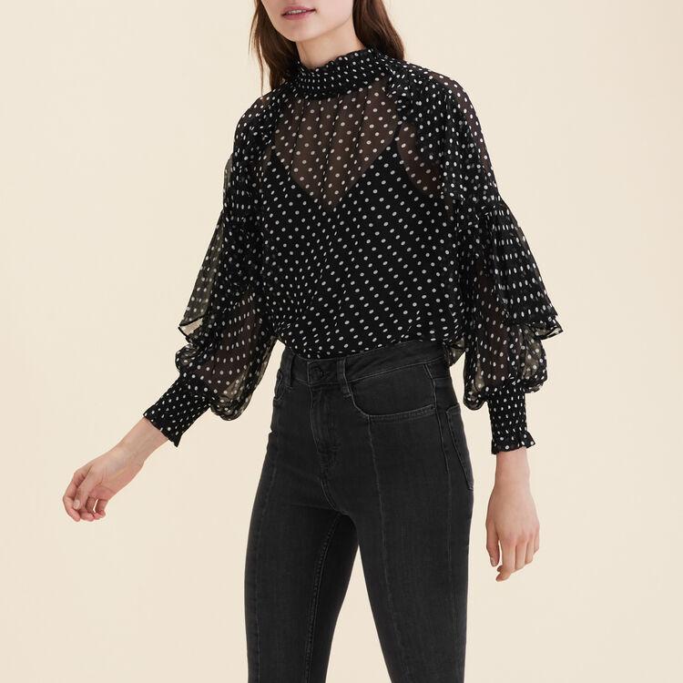 Floaty polka-dot top : Tops color Black 210