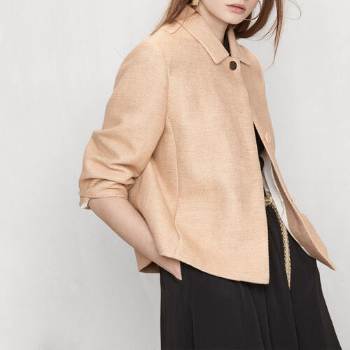Woven fabric cropped jacket : Blazers & Jackets color Blue Sky