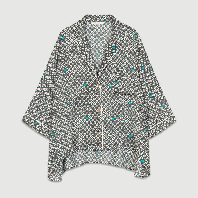 Printed satin shirt : Shirts color PRINTED
