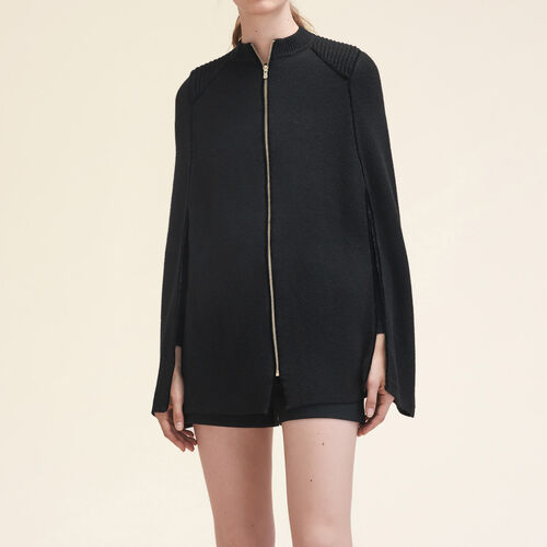 Knitted cape with contrasting details : Knitwear color Black 210