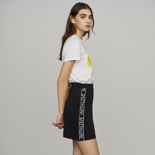 Short skirt with slogan band : New in : Summer Collection color Black 210