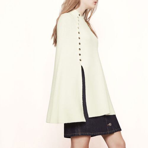 Poncho-style cape with press-studs : Knitwear color Ecru