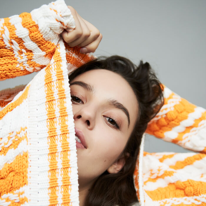 Oversized bicolored knit cardigan : Knitwear color Multi-Coloured