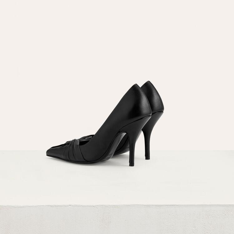 Draped leather pumps : Slipper color Black 210