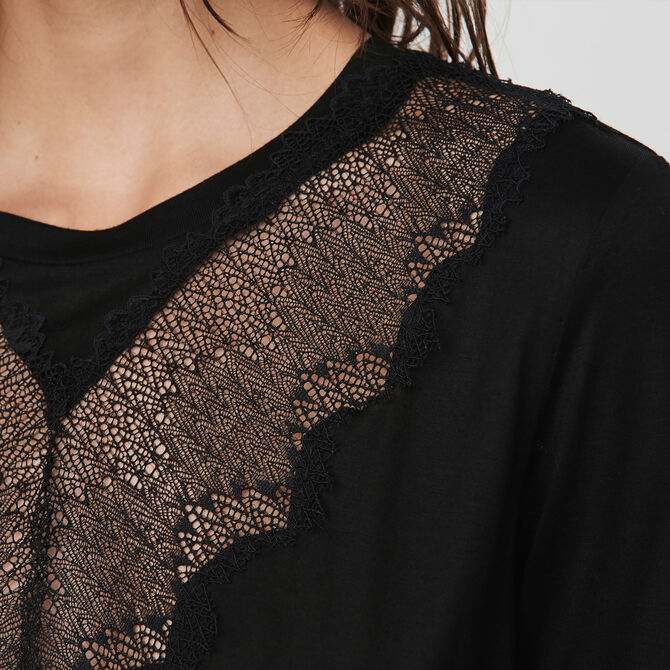 T-shirt with lace trim - See all - MAJE