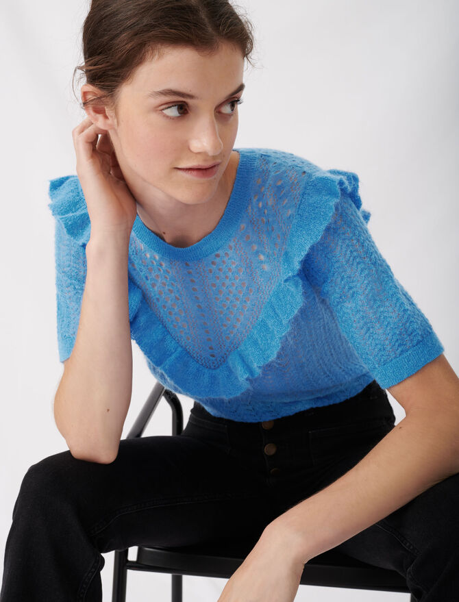Lace-style knitted sweater with ruffles - tout voir - MAJE