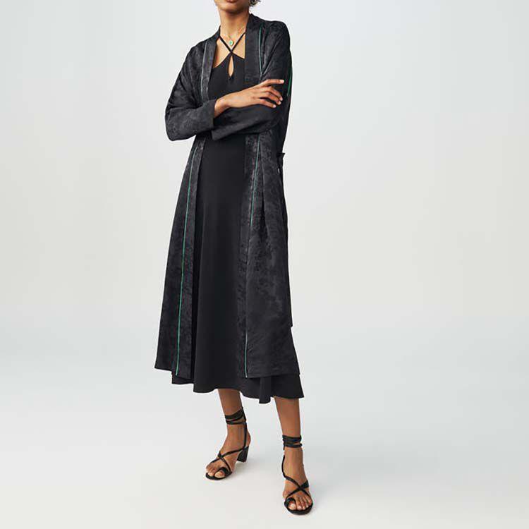 Long kimono-style jacquard jacket : Blazers color Black 210