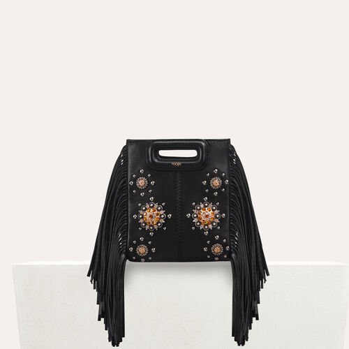 Mini M bag in leather with studs : Leather color Black 210