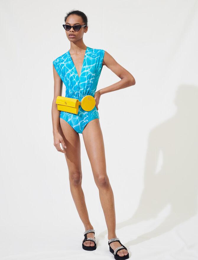Swimming pool print one-piece swimsuit -  - MAJE
